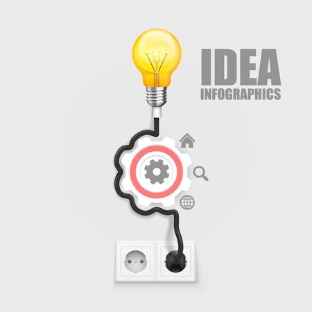 illustraion: Power socket lamp gear, on a white background. Vector illustraion