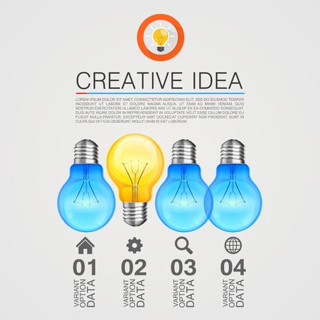 idea lamp: Creative idea, Idea lamp, Light white background, Vector illustration Illustration