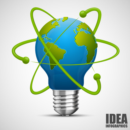 atomic symbol: Creative idea earth. Green energy. Vector illustration
