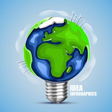 idea lamp: Creative idea earth, Lamp earth sign, Green energy. Vector illustration Illustration