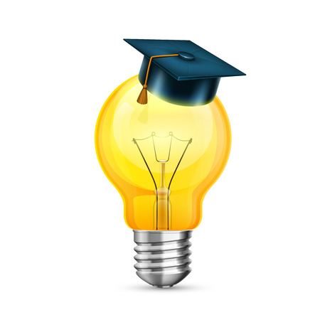 Master cap on the bulb. Creative idea. Object on a white background. Vector illustration