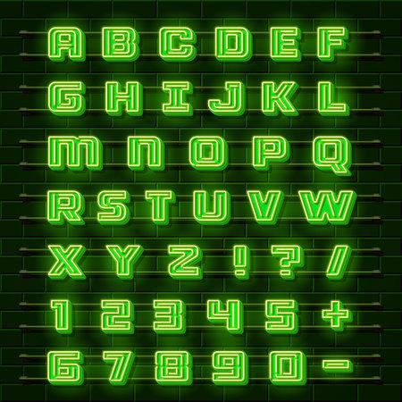 art show: Neon font city. Neon green font english. City alphabet font. Vector illustration