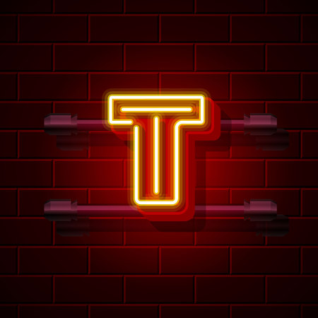 t bulb: Neon city font letter T signboard. Vector illustration