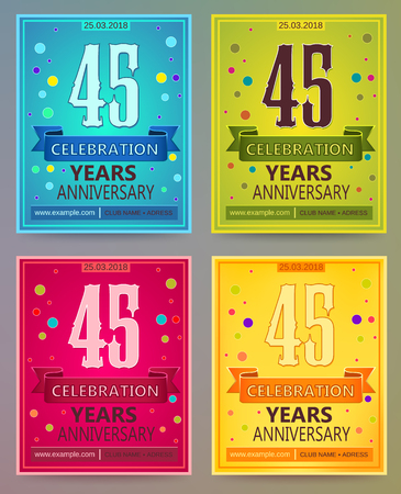 40: Anniversary flyers or invitations vector templates. 45. Forty five years.