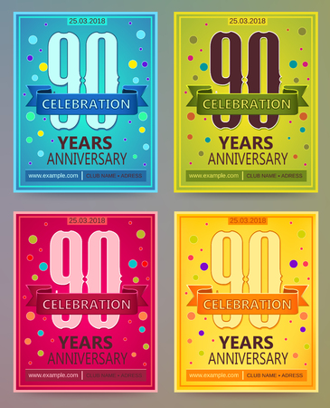 ninety: Anniversary flyers or invitations vector templates. 90. Ninety years.