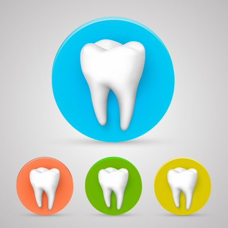 smiles teeth: Tooth set color collection, template design element, Vector illustration Illustration
