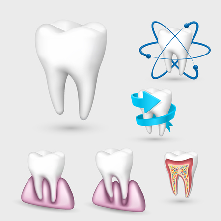 3d tooth collection. Set Tooth. Vector illustration. Illustration