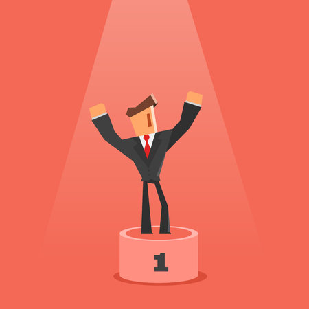 Winner on pedestal. Flat style. Businessman standing on first place of pedestal. Success and victory concept.
