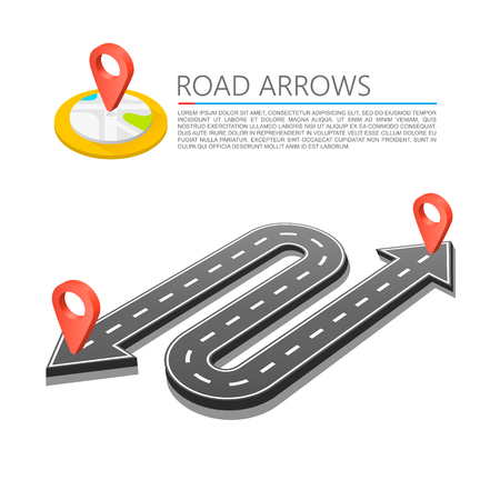 Paved path on the road, Road arrow location, Vector pattern