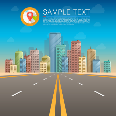 Road in city, Road to infinity, Road vector highway, Vector illustration, Road pattern. Illustration