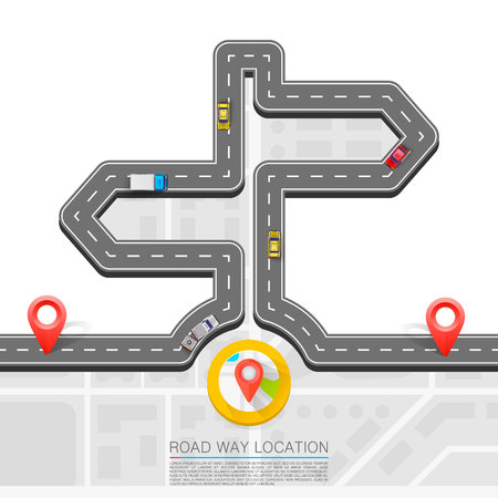 Road direction, Paved path on the road, Direction location road, Road arrow point, Vector pattern Illustration