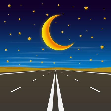 travel star: Road to infinity, road to horizon at night, vector illustration, road pattern. Illustration