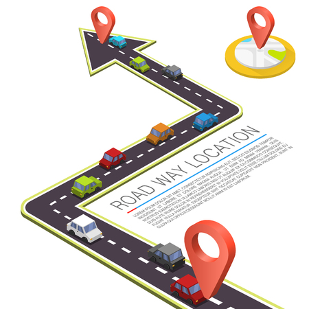 Paved path on the road, Road isometric location, Road color car, Vector pattern Illustration