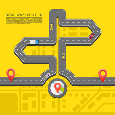 Road direction. Paved path on the road. Vector pattern Illustration