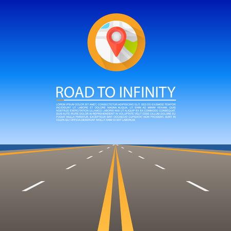 green street: Road to infinity, Road vector highway, Vector illustration, Road sky background. Illustration