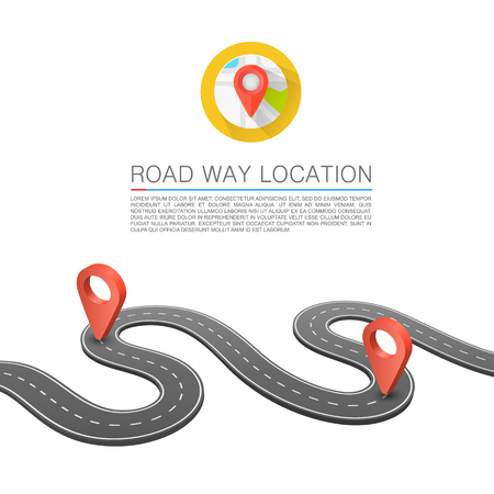 Paved path on the road, Road way location, Vector background, Curved road markings. Illustration
