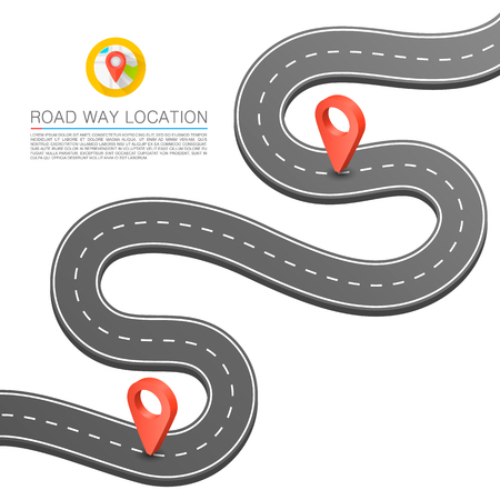 curved road: Paved path on the road, Curved road markings, Vector background. Illustration