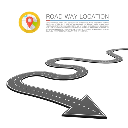 Paved path on the road, Road location arrow, Vector background.