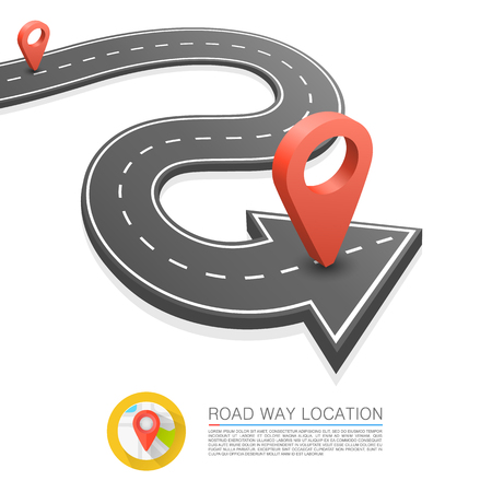 Paved path on the road, Road arrow location, Vector background. Illustration