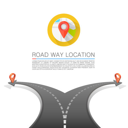 right choice: Road choice, Road arrow cover, Road way location, Vector background.