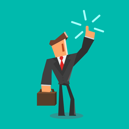 innovation concept: Businessman get an idea. Flat style. Illustration