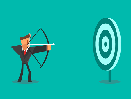 Businessman aiming target. Business concept. Illustration