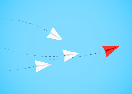 Red paper airplane as a leader Ilustrace