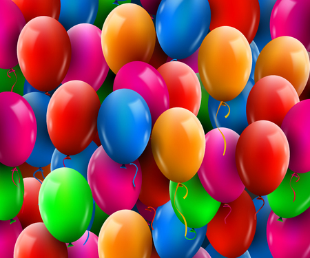 3d Realistic Colorful Bunch of Birthday Balloons Flying for Party and Celebrations. Иллюстрация