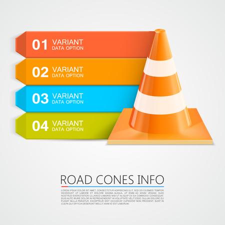 Road Cones info, Cones info nummers. Vector illustratie