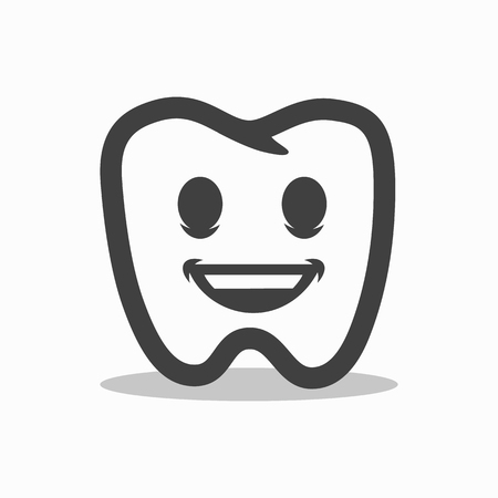 Smiling outline tooth icon. Modern design. Illustration