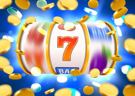 Gouden gokautomaat met vliegende gouden munten wint de jackpot. Groot winstconcept.