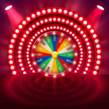 Realistic 3d spinning fortune wheel. Lucky roulette. Vector illustration