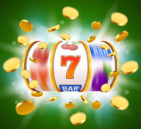 Gouden gokautomaat met vliegende gouden munten wint de jackpot. Groot winstconcept. Vector illustratie