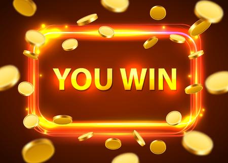 あなたの勝ち。フライングコインで輝くレトロなバナー。カジノのコンセプト。ベクターイラスト