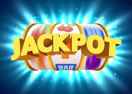 Gouden gokautomaat wint de jackpot. Groot winstconcept. Casino jackpot. Vector illustratie