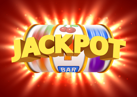 Golden slot machine wins the jackpot. Big win concept. Casino jackpot. Vector illustration Banco de Imagens - 85713703