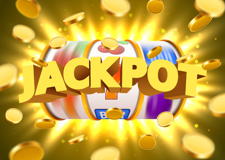 Golden slot machine with flying golden coins wins the jackpot. Big win concept. Vector illustration Reklamní fotografie - 85713705
