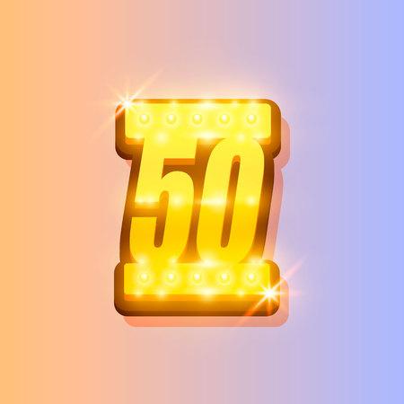Award number 50 banner, gold object on the color background. Vector illustration