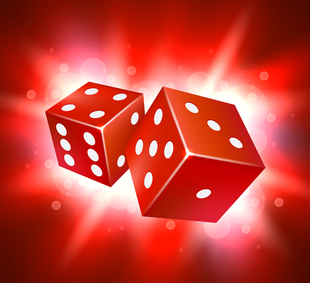 Dice vector design. Two dice casino gambling template concept.