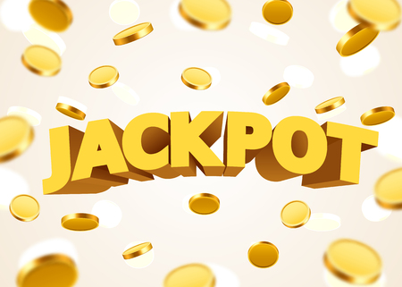 Jackpot sign with gold realistic 3d coins background. Stock Vector - 85757896