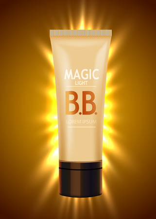 Luxury skin toner, bb cream or peeling scrub contained in tube, light background. Cosmetic and organic makeup concept.