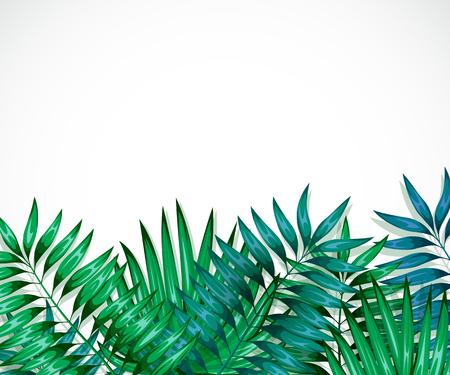 五颜六色的热带叶子框架。丛林的概念为设计邀请,贺卡和壁纸。