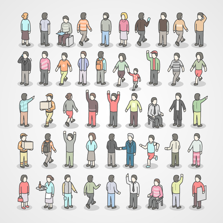 Large collection of different people. Set of poses. Vectores