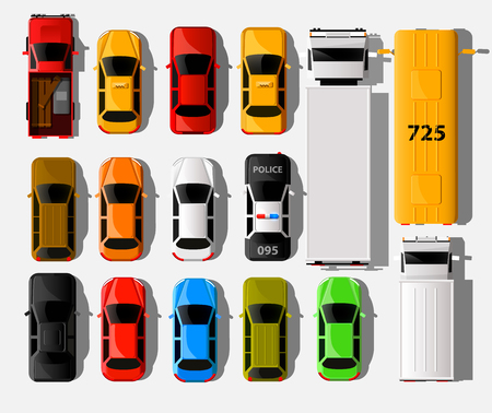 City vehicle transport icons set