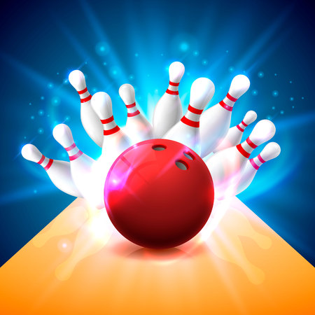 Bowling club poster with the bright background Vector illustration
