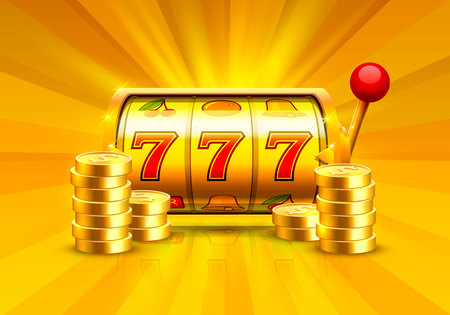 Golden slot machine wins the jackpot. Piles of gold coins. Vector illustration isolated on white background.