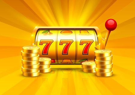 Gouden gokautomaat wint de jackpot. Stapels van gouden munten. Vectorillustratie geïsoleerd op een witte achtergrond. Vector Illustratie