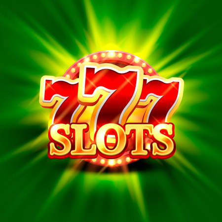 Big win slots 777 banner casino on the green background . Vector illustration 向量圖像