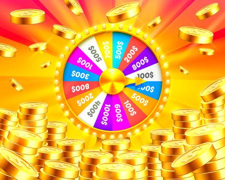 Colorful fortune wheel wins the jackpot. Vettoriali