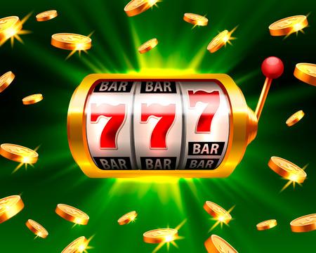 Big win slots 777 banner casino on the green illustration. Illustration